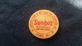 Vintage Sambo's Sparks, Nevada Wooden Nickel 1 Good for $.10 Cup Coffee! - $3.75