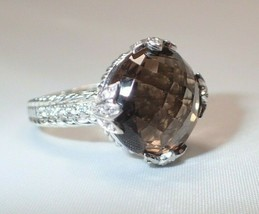 Estate Judith Ripka Sterling Cabochon Cushion Cut Smoky Quartz Ring Size... - $84.14