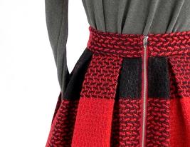RED PLAID Women Midi Skirt Autumn Classic Plus Size Flannel Long Plaid Skirts image 6