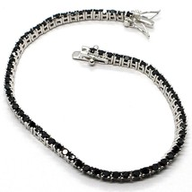 Tennis Bracelet, Silver 925, Zircon Cubic Black, Brilliant Cut, 2 MM - $39.22+