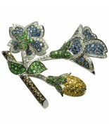 18k White Gold 7.25 TCW Diamond Flower Brooch with natural Color Stones - $4,950.00