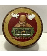 "Debbie Munn Welcome Wilderness Tin 5 1/2"" D/Moose/Cabin/Rustic - $5.93"