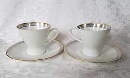Rosenthal TEA CUPS SAUCERS (2) each Vtg Lavender Purple Gold Trim China ... - $64.99