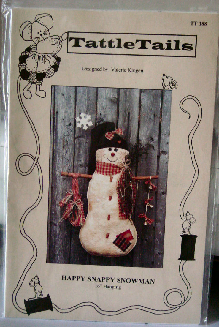 """Pattern Happy Snappy Snowman Wall Hanging 16"""""""