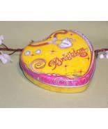 Brighton Collectable Heart/Lock YELLOW Empty Jewelry Box Tin - $5.00