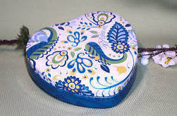 Brighton Collectable Heart BLUE PAISLEY Empty Jewelry Box Tin
