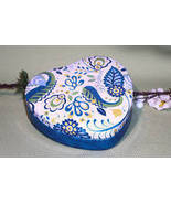 Brighton Collectable Heart BLUE PAISLEY Empty Jewelry Box Tin - $5.00