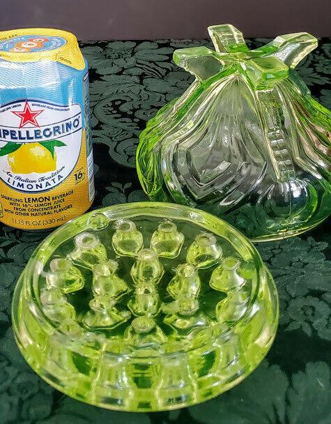 Sowerby English Vaseline Art Deco Glass Posy Bowl & Frog Set 30's Rare Exc. Cond