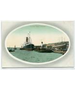 Steamer Landing Stage Tugs Liverpool UK 1910c postcard - $6.93