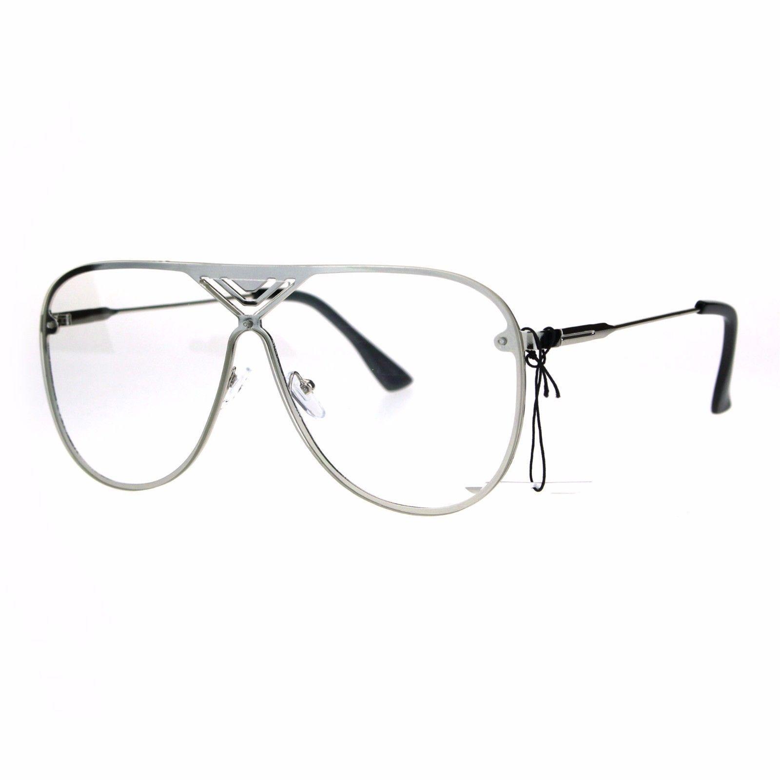 Oversized Clear Lens Glasses Flat Top Racer Aviator Fashion Eyeglasses