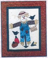 Autumn Halloween Birds Scarecrow Quilt Wall Hanging Applique Pattern 30-... - $12.99