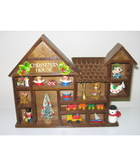 Enesco 1979 Wood Shadow Box Christmas House w/ Toys Wall Decor - $28.99
