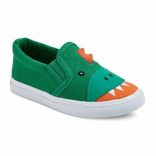 Cat & Jack Toddler Boys Green Dinosaur Finch Canvas Slip-On Shoes Sneakers NWT