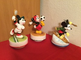 Vtg Lot Disney Mickey Mouse Schmid Ceramic Music Box Tennis Soccer Skiing - $55.00