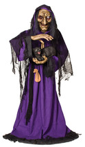 Lifesize 5FT Animated Spellcaster Witch with Black Cat Halloween Prop SE... - €123,77 EUR