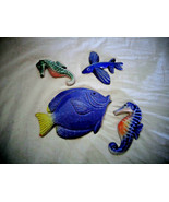 Lot of Fish and Sea Horses HandCrafted Barbados Clay Figurines w/ hooks ... - $18.99