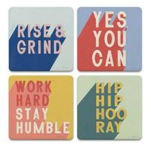 Positivity Coasters New Set of 4 CoasterStone Rise & Grind Work Hard Sta... - $24.74