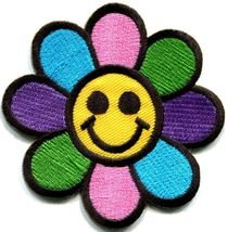 Flower power smiley face boho hippie retro love applique iron-on patch n... - $2.95