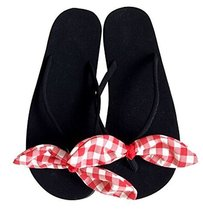 Fashion Summer Item, Lovely Plaid Bowknot Flip Flop Beach Casual Sandals