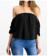 HIPPIE ROSE Juniors' Puff-Sleeved Off-The-Shoulder Crop Summer Top Black... - $5.38