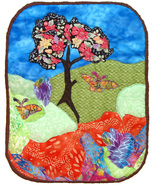 One and One Half Butterflies: Quilted Art wall hanging - €350,30 EUR