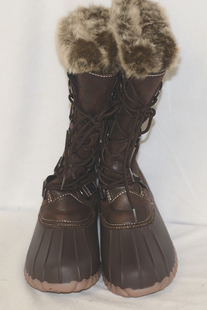 YUU Fiona Brown Synthetic Winter Boots With Fax Fur At The Top 6M