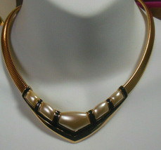 Vintage Signed Napier Black Enamel & Thermoset Snake Chain Choker Necklace - $21.29
