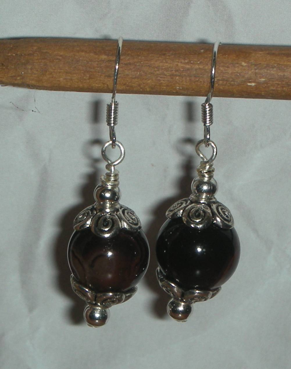 Beautiful Natural Brown Agate Beads Earrings