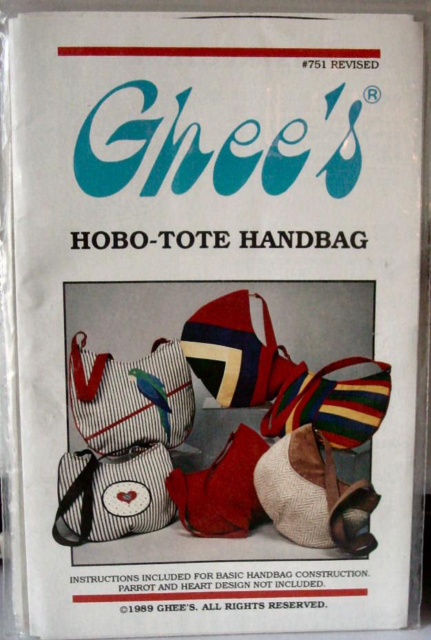 "Pattern Hobo-Tote Handbag 14"" x  11.5"" small or 15.5"" x 15"" large"