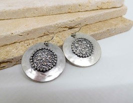 Chico's Hammered Distressed Silver Rhinestone Medallion Dangle Earrings ... - $16.82