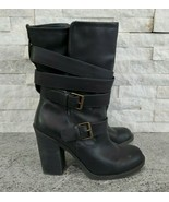 Arizona Black High Heel Boots with Straps and Buckles for Women, 8.5 M - $18.70