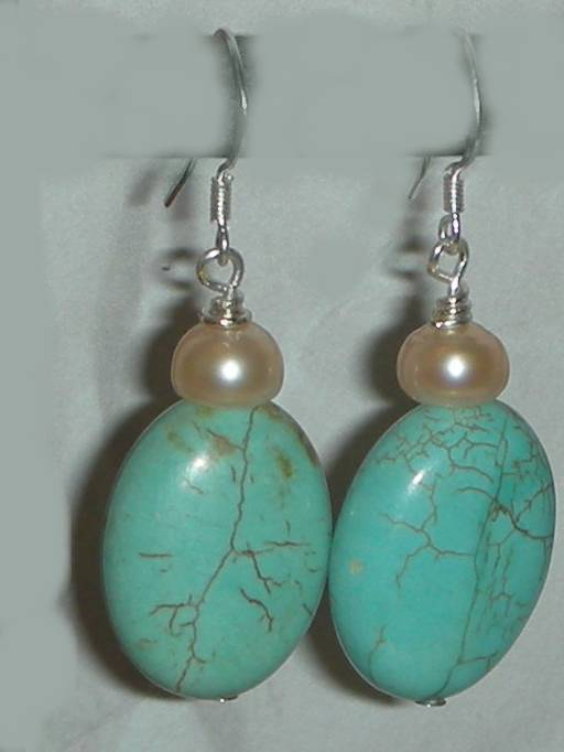 Turquoise oval pearls