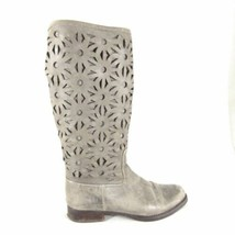 7 - Antelope Anthropologie Womens Gray Leather Perforated Mid-Calf Boots... - $39.00