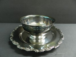 ONEIDA ROYAL PROVINCIAL SILVER PLATE BOWL W/ ATTACHED TRAY  - $21.78