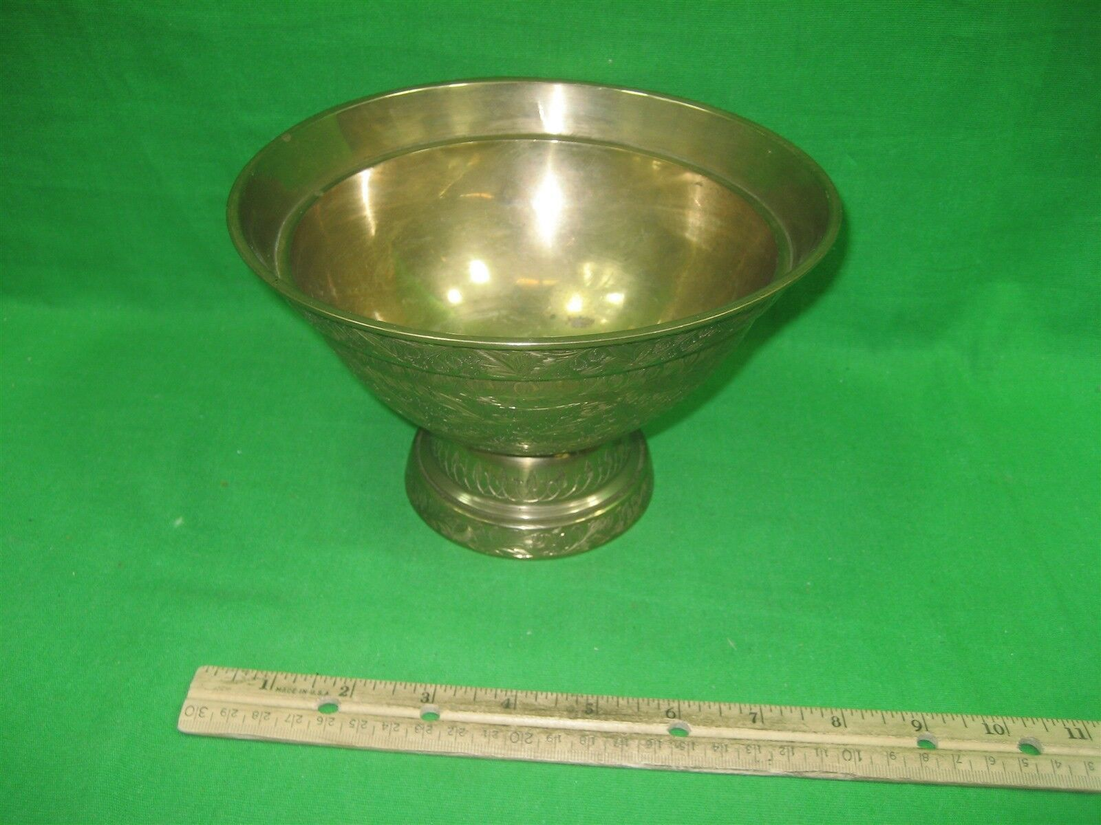 """Vintage Brass Etched Bowl Centerpiece on Pedestal Made In India Ornate 5"""" Tall image 6"""