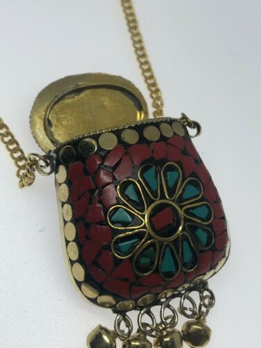 Vintage Coral Turquoise Mosaic Mojo Pouch Bag Bronze Necklace