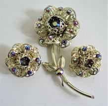 Vintage SARAH COVENTRY Borealis Rhinestone Flower Brooch & Earrings Set Minty! - $43.69