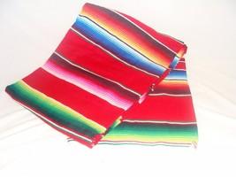 #203 Mexican Blanket Sarape Red Siesta Premium Yoga Deluxe Authentic Sal... - $26.75 CAD