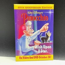 Walt Disney vintage button pinback pin advertising Pinocchio wish upon s... - $9.85