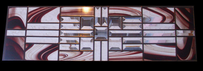 Stained Glass Window Panel Transom or Sidelight Gold Amber Rootbeer
