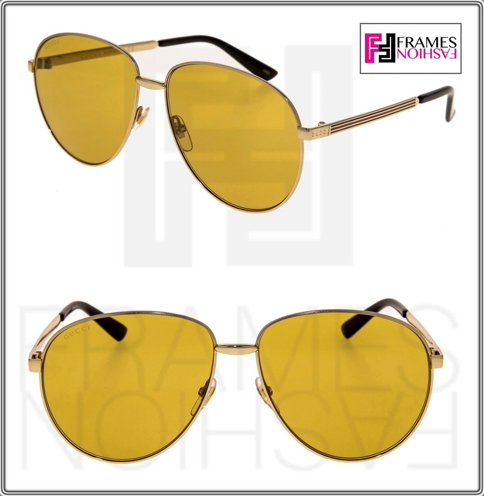 f6a02cdd1ba1 S l1600. S l1600. Previous. GUCCI WEB 0138 Gold Metal Etched Aviator Yellow  Sunglasses 2280 GG0138 Unisex