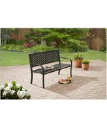 Outdoor Patio Garden Bench Durable Steel Yard Park Porch Furniture Black... - $76.69