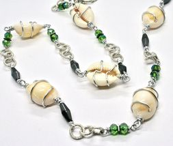 Necklace the Aluminium Long 90 Inch with Seashells Hematite Crystals Green image 7