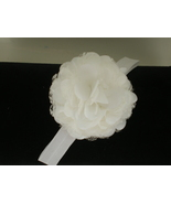 BABY GIRL WHITE HEADBAND WITH HANDMADE SATIN AN... - $7.99