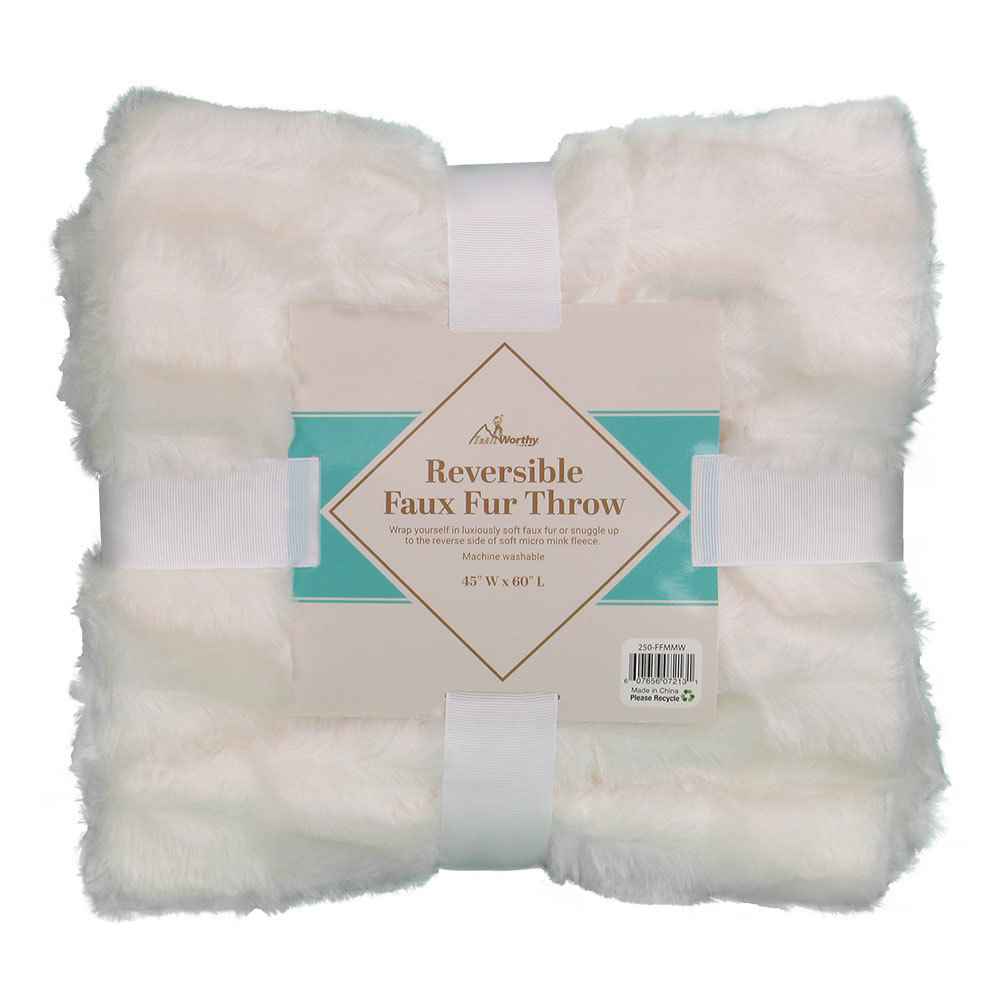 Case of [10] TrailWorthy Faux Fur Micro Mink Blanket - White
