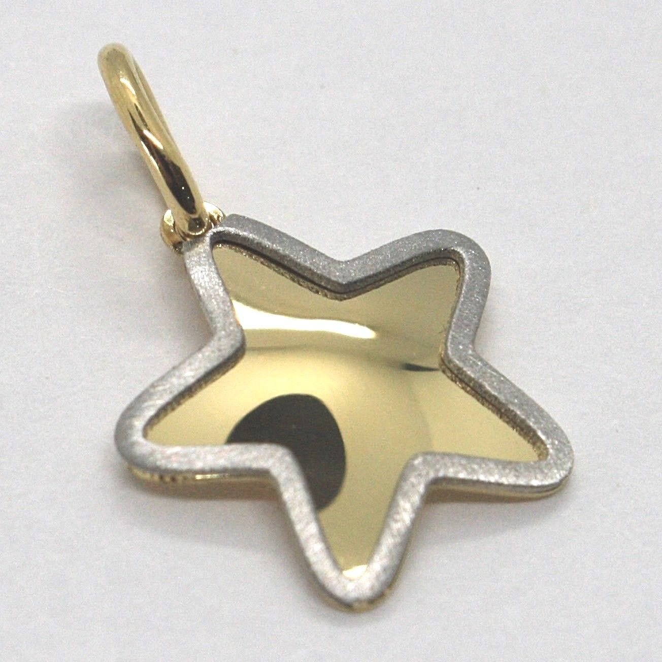 YELLOW GOLD PENDANT WHITE 750 18K, STAR WITH EDGE SATIN, MADE IN ITALY