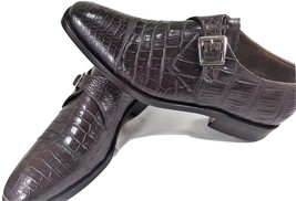 Crocodile Genuine Leather Cap Toe Single Strap Monk Belly Pattern Shoes US 09-10 - $759.99 - $799.99