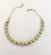 Vintage Jewelry Gold Tone Aurora Borealis Chain Link Necklace SIGNED STA... - $14.39