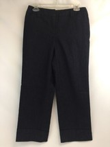 Ann Taylor Loft Trouser Blue Jean Capri Cuffed Dress Pants Size 4 Work C... - $19.60