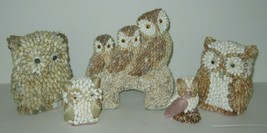 Vintage Mid Century Seashell Owls Google Eye Owl Shell Art Owls Lot of 5 - $42.03
